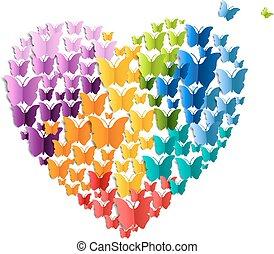 corazón, con, mariposa