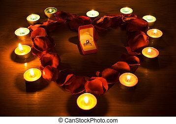 corazón, con, pétalos, y, vela, luces