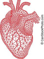 corazón, con, patrón geométrico, vecto