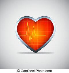 corazón, con, pulso