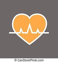 corazón, con, pulso, golpe, tasa, icono