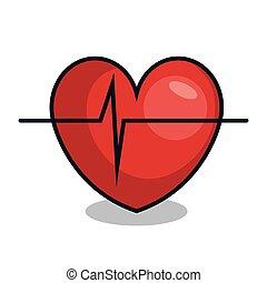 corazón, con, pulso, línea, aislado, icono