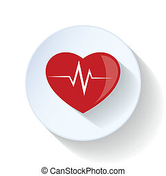 corazón, con, pulso, plano, icono
