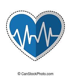 corazón, con, pulso, símbolo