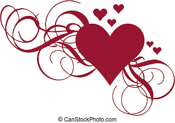 corazón, con, remolinos, vector