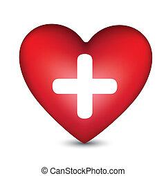 corazón, con, un, blanco, cruz