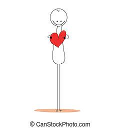 corazón, concept., cuidado, hombre