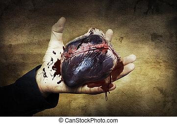 corazón, concept., halloween, sangre, mano
