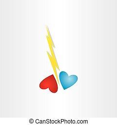 corazón, concepto, amor, divorcio, roto, lastima, trueno