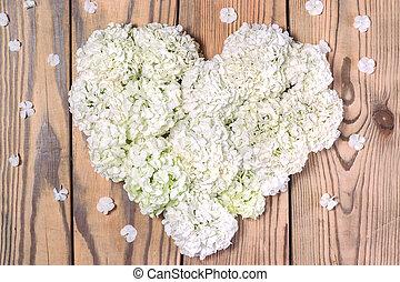 corazón, concepto, amor, flores, hecho, blanco