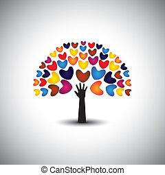 corazón, concepto, amor, iconos, árbol, -, mano, vector., o