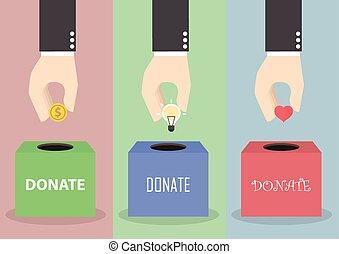 corazón, concepto, caja, luz, mano, donación, poniendo, hombre de negocios, moneda, bombilla