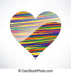 corazón, concepto, coloreado, love., ilustrado, stripes.,...
