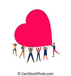 corazón, concepto, grupo, gente, grande, ilustración, amor, ...