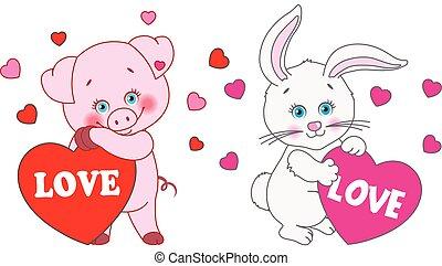 corazón, conejo, valentino, cerdo, day., vector, caracteres, tenencia