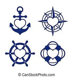 corazón, conjunto, compás, marina, ancla, icono