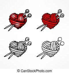 corazón, conjunto, illustration., hilo, vector, white., lana, rojo