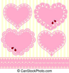 corazón, conjunto, marco, forma, flor, tarjeta