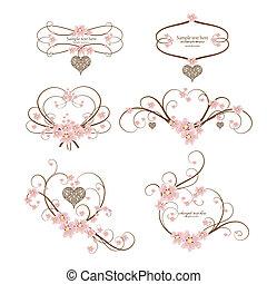 corazón, conjunto, ornamental, texto, marco, seis, lugar, su