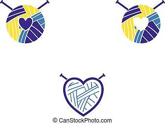 corazón, conjunto, tejido de punto, logotype, hilo, aprendizaje, logotipo, lana