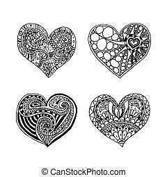 corazón, conjunto, valentine, cuatro, hearts., zentangle, ...