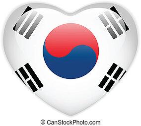 corazón, corea, botón, bandera, brillante, sur