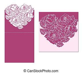 corazón, corte, laser, rosa, hojas, ornament., temlate, ...