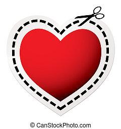 corazón, corte, rojo, afuera