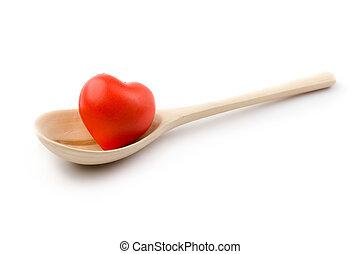 corazón, cuchara, blanco, aislado