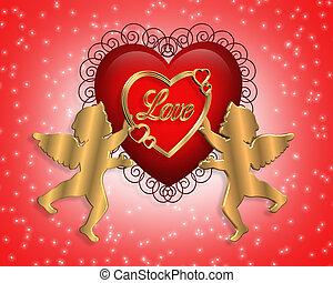 corazón, cupido, valentine
