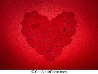corazón, día de valentines, rojo