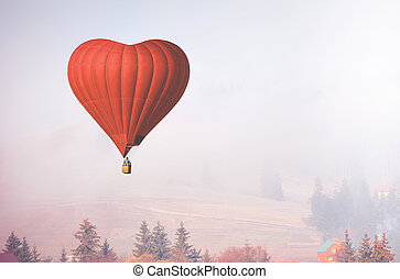 corazón, d, globo, vuelo, aire, forma, bosque, brumoso