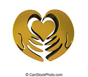 corazón, d, oro, 3, manos, logotipo