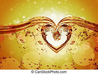 corazón, de, agua, salpicadura, con, burbujas