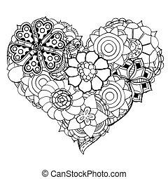 corazón, de, flor