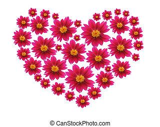 corazón, de, flores