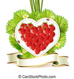 corazón, de, fresa