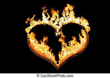 corazón, de, fuego