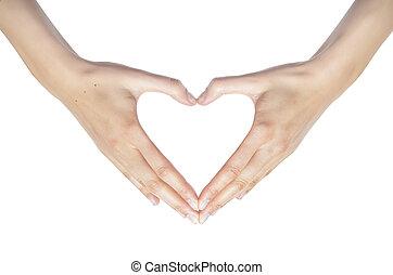corazón, de, hands.