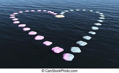 corazón, de, piedras, en, el, agua