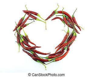corazón, de, pimienta chili