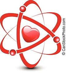 corazón, dentro, átomo