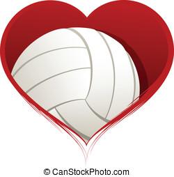 corazón, dentro, voleibol