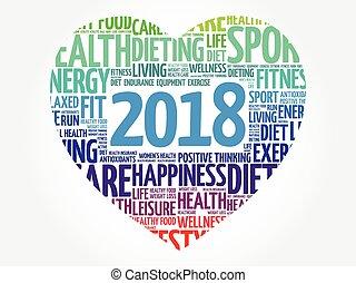 corazón, deporte, palabra, 2018, nube