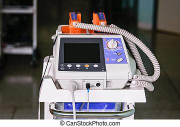 corazón, desfibrilador, -, emergencia, alta tecnología, equipo