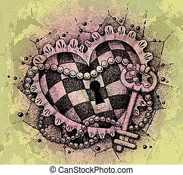 corazón, dibujado, llave, mano