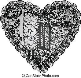 corazón, diseño, encaje, bordado