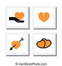 corazón, diseños, conjunto, iconos, divorcio, y, -, arriba, interrupción, vector, amor