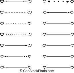 corazón, divisores, garabato, vector, fronteras