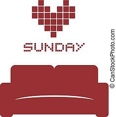 corazón, domingo, sofá